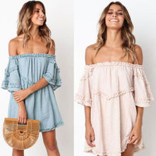 ZOGAA Hot Fashion Women Summer Casual Off Shoulder Short Mini Dress Beach Ruffles Stylish Party Sundress vestido infantil
