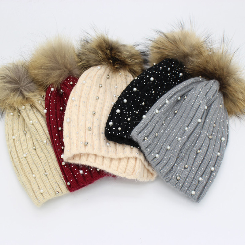 Mink And Fox Fur Ball Cap Pom Poms Winter Hat For Women Girl 's Wool Hat Knitted Cotton Beanies Cap Brand New Thick Female Caps new star spring cotton baby hat for 6 months 2 years with fluffy raccoon fox fur pom poms touca kids caps for boys and girls