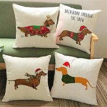 Cão Dachshund Animais De Natal moderna Cadeira do Sofá Decorativa Throw Pillow Caso Capa de Almofada Decoração Da Sua Casa de Algodão de Linho Veludo e760