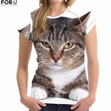 FORUDESIGNS Cat T Shirt Women Kawaii t-shirt 3D Animal Printing Ladies T-shirt Casual 2018 Fashion t shirt Cool Plus Size XL