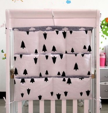 Promotion! Cartoon 62*52cm 100% cotton baby crib organizer for nappy toy baby cot hanging bag for bedding set