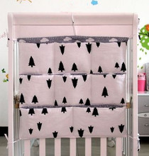 Promotion Cartoon 62 52cm 100 cotton baby crib organizer for nappy toy baby cot hanging bag
