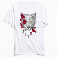 Europe Size Men T Shirt Flower Wolf T-shirt RESIST RENEW Custom Short Sleeve Tops Mens TShirt Discount O-Neck All Cotton Clothes