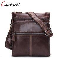 CONTACT S Fashion Genuine Leather Bag Men Messenger Bag Cowhide High Quality Design Shoulder Bags ZipTravel