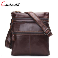 CONTACT S Fashion Genuine Leather Bag Men Messenger Bag Cowhide High Quality Design Shoulder Bags ZipTravel