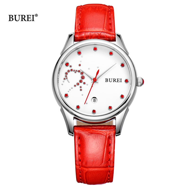 BUREI Brand Ladies Watches Waterproof Fashion Leather Band Sapphire Crystal Quartz Wrist Watch Clock Women 2017 Relogio Feminino цена и фото