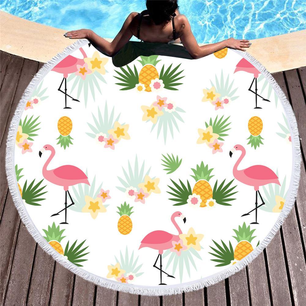 @1  Круглое пляжное полотенце с кисточкой Розовый фламинго из пальмовых листьев Цветок из микрофибры Пол ①