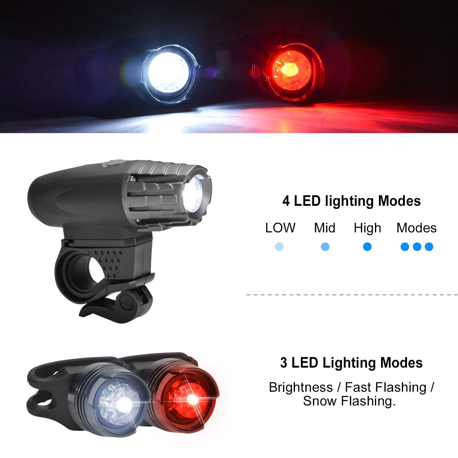 4 Modes 3 LED USB Rechargeable Bike Headlight Taillight Bicycle Lights Bulbs US