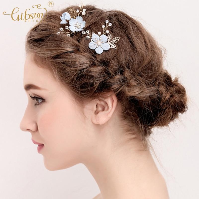 Flower Hair Pins For Wedding: Ginsonbridal Wedding Hairgrips Blue Flower Hair Pins
