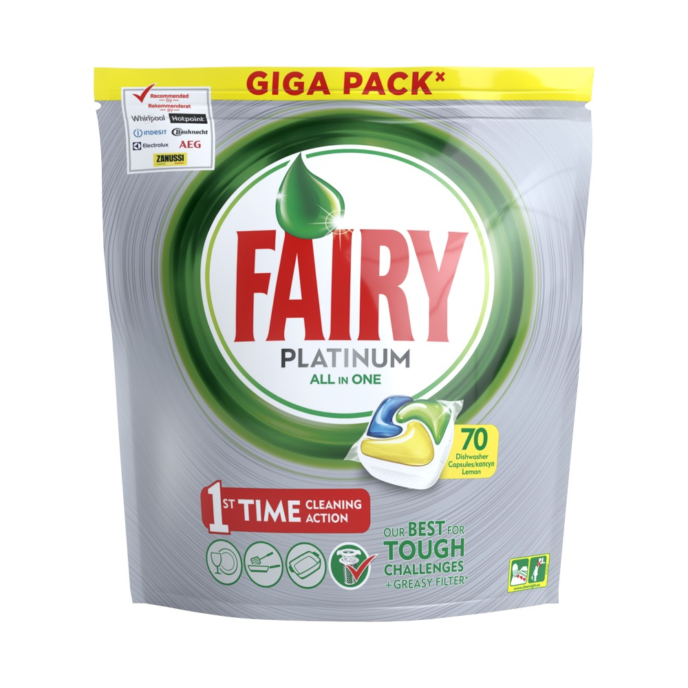 Lemon Dishwasher Tablets Fairy Platinum All in One Lemon (Pack of 70) Tableware Washing Dishes Detergents for Dishwashers