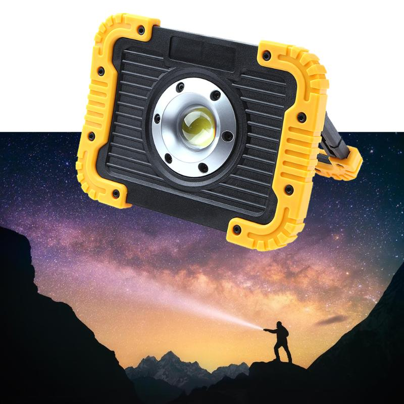 COB LED Work Light Floodlight flashlight Camping Spotlight Searchlight Built-in Rechargeable Li-Batteries With USB to charge