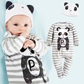 Мода новорожденный панда мультфильм хлопка одежды малышей с длинными рукавами бинтования ног комбинезон + детские шапки