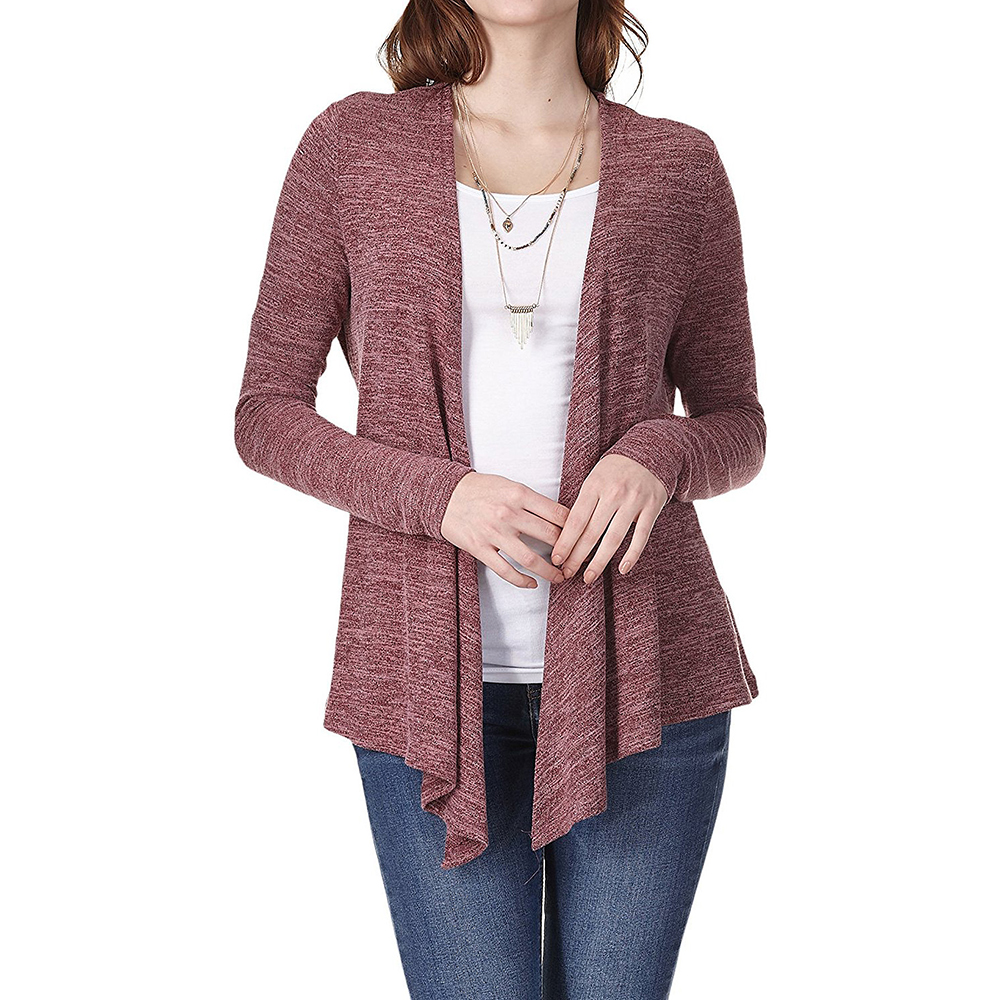 Casual Knitted Sweater V-neck with Belt Lace Up Cardigans Sweater Solid Loose Plus Size 2XL Wine Red Vintage Winter Long Sleeve