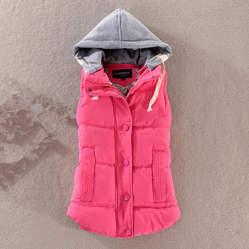 high quality Women s autumn and winter detachable hood vest new Slim hooded cotton vest fashion