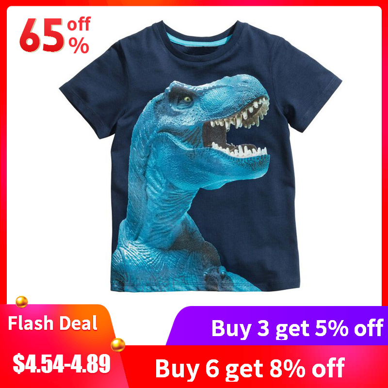 Buy3get5% 2 8years 4style Dinosaurs Print Baby Boys T Shirt Summer New Children Kids Boy's Shorts Sleeve Clothes Boys Tops Tees