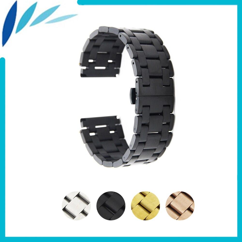 Bracelet de montre en acier inoxydable 26mm 28mm pour papillon Diesel fermoir sangle poignet boucle ceinture Bracelet argent + barre de ressort + outil