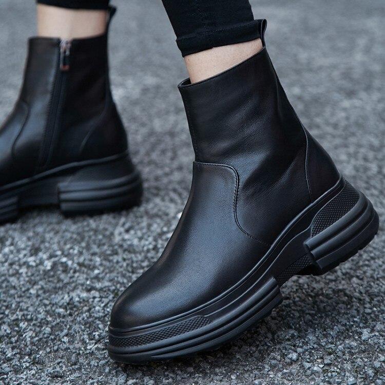 {zorssar} Courtes forme Plat Mode Femmes Chaussures Chaussons Femme Cheville Plate En Cuir Printemps Bottes Noir Véritable Automne 1xHA1Yrq
