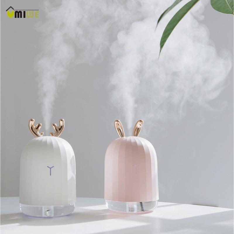 220 ml Aroma ätherisches öl diffusor USB ultraschall Cartoon Luftbefeuchter Kaninchen Form 7 Farbwechsel Led-leuchten für Hause büro