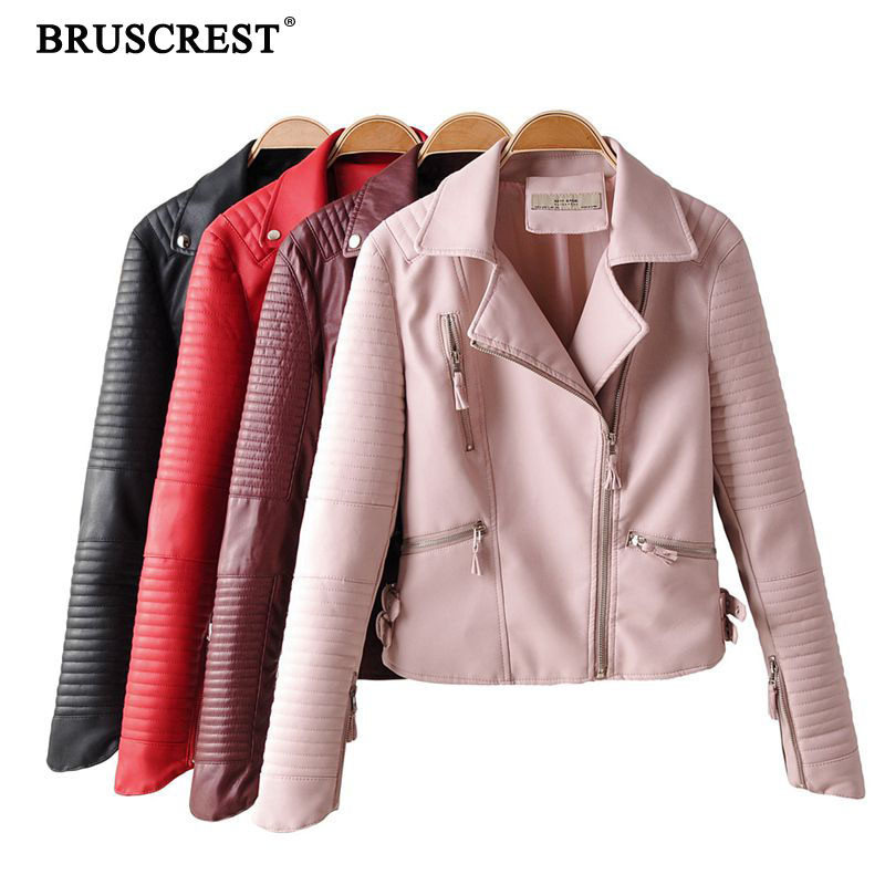 New women pu   leather   jacket red zipper coat party fashion elegant motorcycle streetwear formal ladies clothes