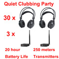 Professional Silent Disco compete system wireless headphones - Quiet Clubbing Party Bundle (30 Headphones + 3 Transmitters)