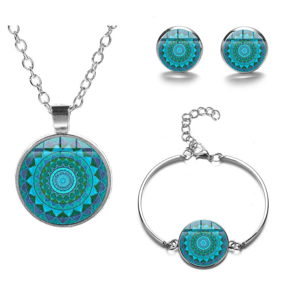 SONGDA Vintage Indian Mandala Jewelry Sets Bohemian Patterns Crystal Glass Silver Color Necklace Earrings Bracelet Set Jewellery