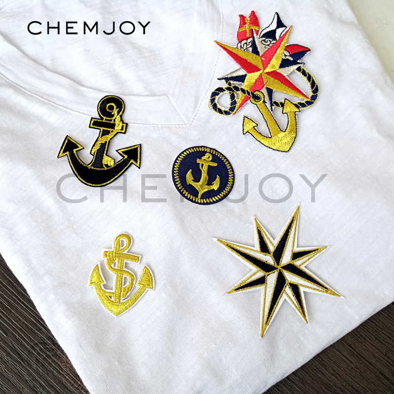 Gold Anchor Embroidered Patches for Shirts Military Army Ironing on Badges Clothes Stickers Sewing Appliques Cute Patch for Hats