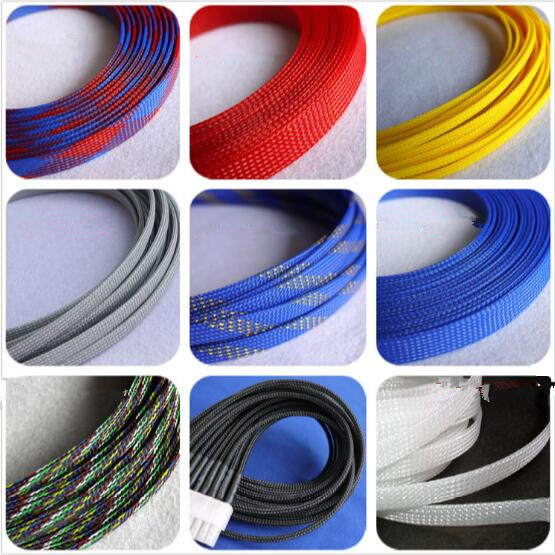 3-50mm Black+Blue Braided Sleeving Cable Harness Sheathing Expanding  Densely