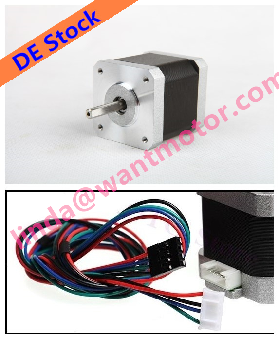 Dual connectors! 5 PCS Wantai 4-lead Nema 17 Stepper Motor 42BYGHW609L20P1-X1 4000KG.cm 40mm 1.7A Reprap 3D Printer DIY eu free 5 pcs wantai 4 lead nema 17 stepper motor 42byghw609 4000kg cm 40mm 1 7a reprap a4988 3d printer diy