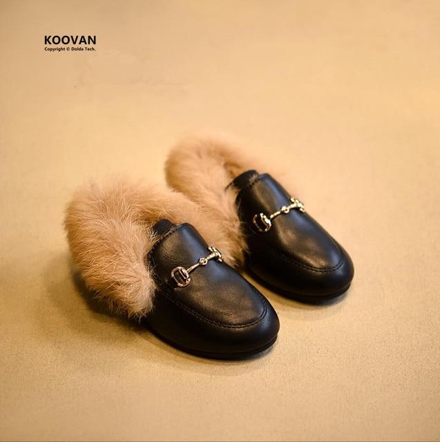 Koovan Children Fur Shoes 2017 Warm Shoes Children Fashion Girls Slippers Rabbit Hair Parent-child Plush Leather Sandals Flats