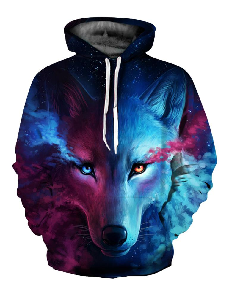MISSKY 2019 New Autumn Winter Women Men Sweatshirt 3D Wolf Printed Hoodie Cool Animal Tops Lovers Pullover Female Male Clothes