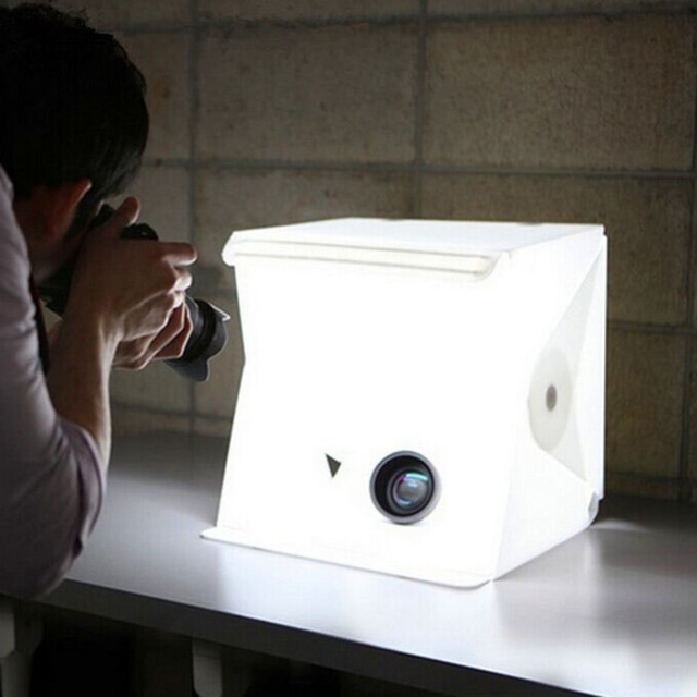Cool Stuff New Design Fixed by Button 2 LED Line Mini Lightbox Studio Photo Photography Tent Kit with Black White Backgrond USB LED light 2