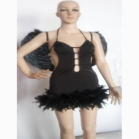 hot sex free shipping Female black full length Angel costume for halloween one piece dress halloween costume for woman with wing