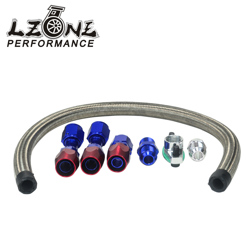 Adaptable Lzone 10an Turbo Steel Braided Oil Drain Return Line T3 T4 T04e T70 T60 T61 Gt35 An10 Blue And Red Jr-tol12 Engine Auto Replacement Parts