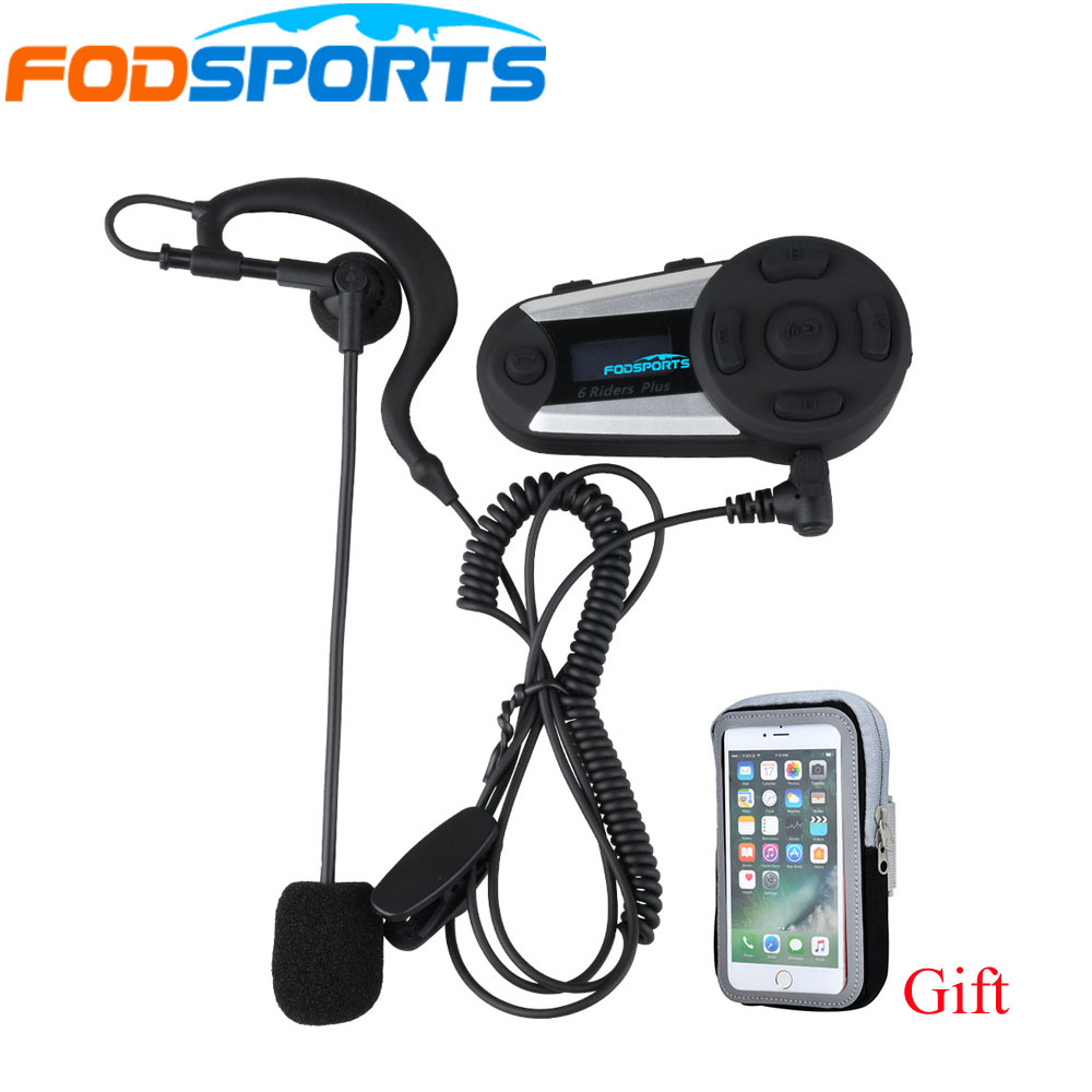 1 Pcs V6 Plus 6 Riders 1200m Bluetooth Intercom Headset Wireless With Earhook Earphone Suit For Football Referee Judge Biker