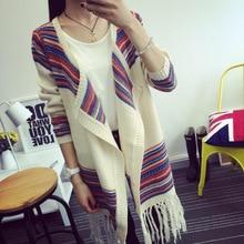 Korean Fashion Loose Big Yards Cloak Fringed Shawl Sweaters Geometric Patterns Knitted Cardigan MY-19