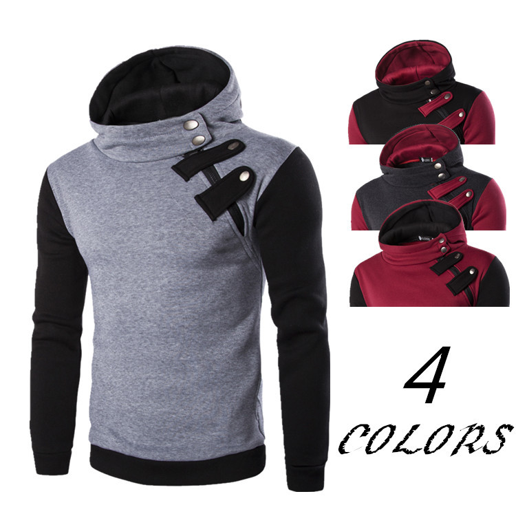 New Men Fashion Winter Coat Stand Color Inclined Zipper Multi-Color Hoodies Men Long Sleeves Top