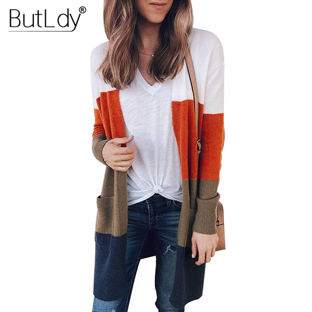 beeedcbf54 Knit Sweater Women Patchwork Long Cardigan Multi Color Block Knitwear  Fashion 2018 Autumn Winter Loose Cardigans Sweater Coat