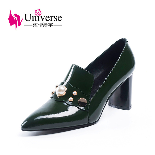 """Fashion Women Patent Leather Round Toe Casual Pumps Universe Genuine Leather Black Green Heels 7cm/2.76"""" Dress Party Shoes H156"""