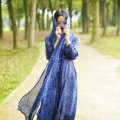 O Envio gratuito de 2016 Nova Moda Chiffon Longo Maxi Vestidos Two-piece Set Protetor Solar Translúcido Camisa de Vestido Azul Vestido Conversível