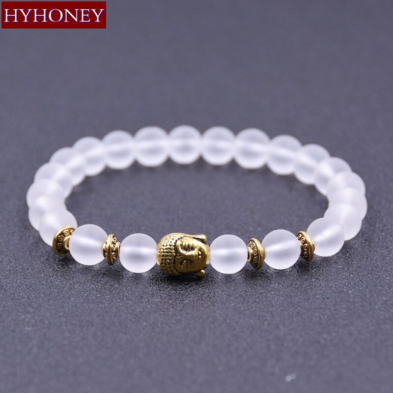 HYHONEY 2017 Fashion Jewelry bracelets & bangles Natural Stone Matte Bead Buddha Men Bracelet Gifts pulsera