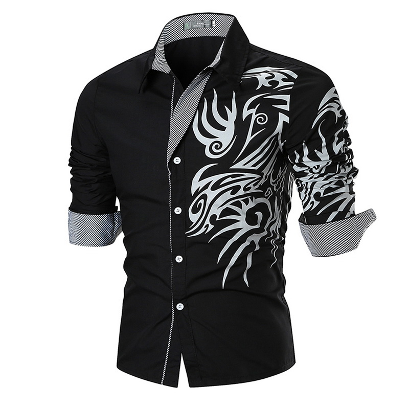 VERTVIE Men Shirts New Men's Dragon Print Shirts Slim Fit Casual Fashion Social Business Long Sleeve Shirt Camisa Masculina