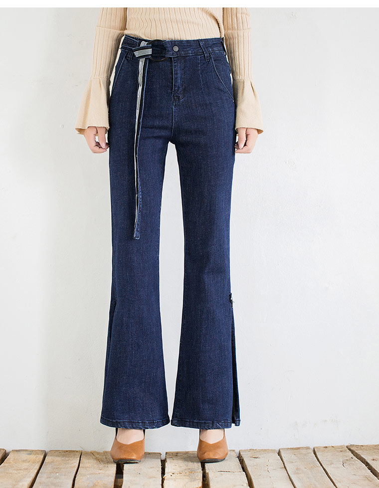 Cintura Algodón Moda Ancha Las Fajas Nueva Mujeres Pierna Mujer Pantalones Vaqueros De Tyn0906 Tamaño Alta Casual Mezcla Plus Azul 4xaxFOqSw