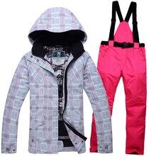 Livraison gratuite hiver ski costumes femmes de veste + pantalon, vêtements de planche à neige ski vestes de Sport Imperméable Coupe-Vent en plein air