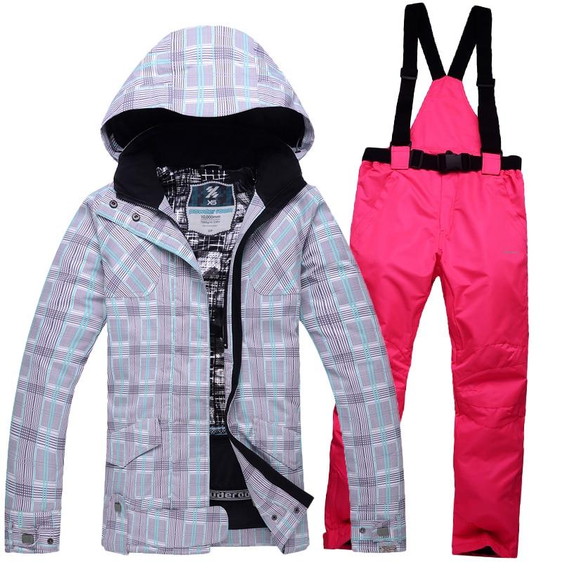 Prix pour Livraison gratuite hiver ski costumes femmes de veste + pantalon, vêtements de planche à neige ski vestes de Sport Imperméable Coupe-Vent en plein air