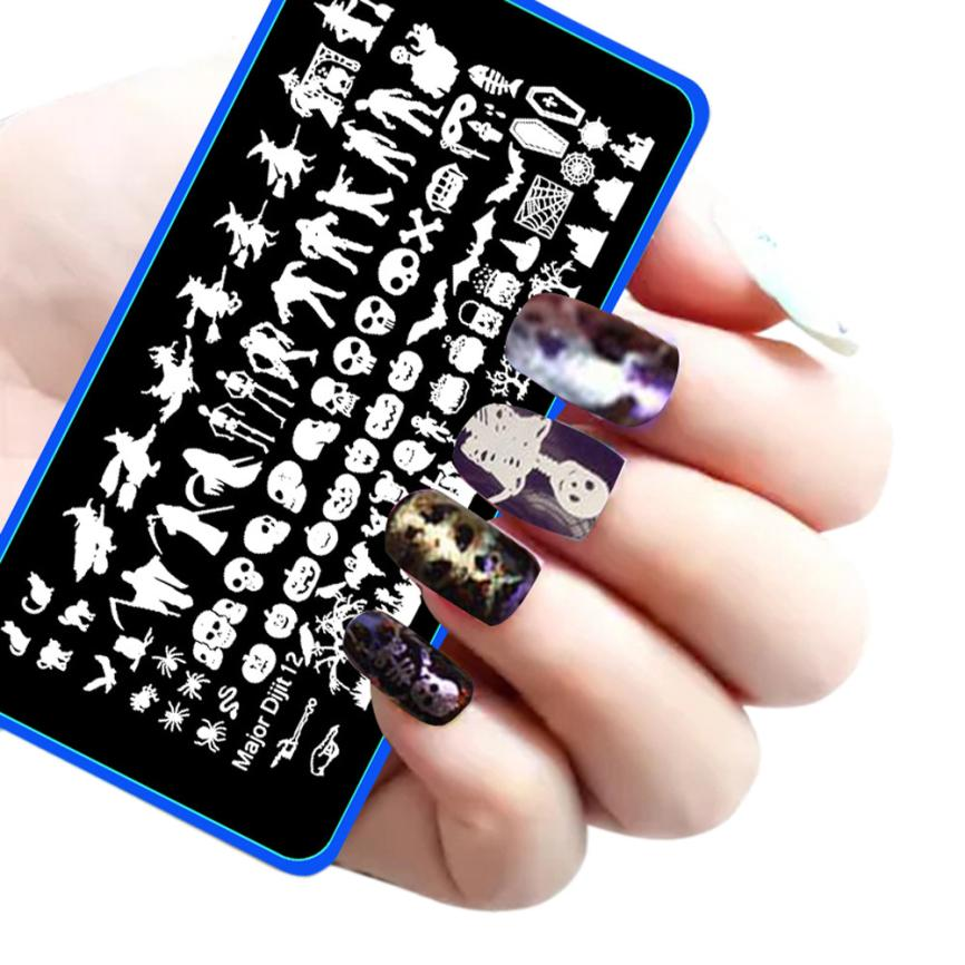 2016 New Top Fashion Black color Halloween DIY Nail Art Image Stamp Stamping Plates Manicure Template Anne Shop