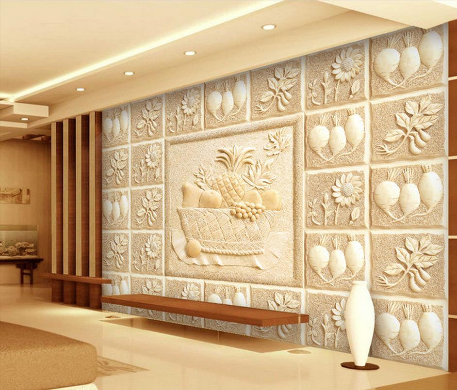 Sandstone living room TV sofa background wall Relief murals wall 3d ...