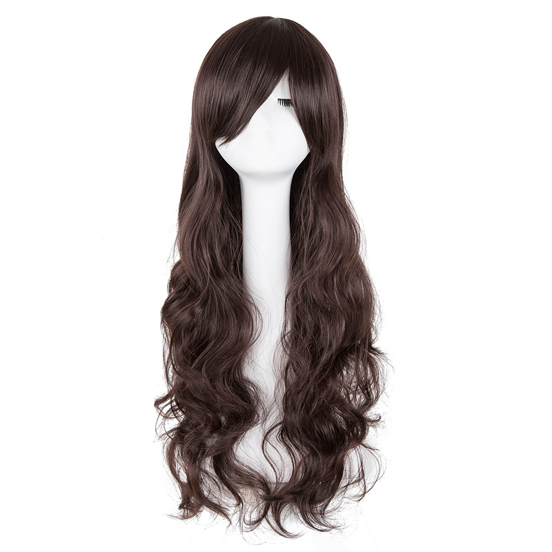 Synthetic Wigs Nice Black Wig Fei-show Synthetic Heat Resistant Long Curly Middle Part Line Hair Costume Cos-play Halloween Carnival Party Hairpiece