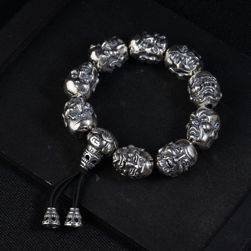 FNJ 925 Silver Luohan Bead Bracelet Buddha Adjustable 18.5cm Rope Chain Charm Thai S925 Silver Bracelets for Men JewelryFNJ 925 Silver Luohan Bead Bracelet Buddha Adjustable 18.5cm Rope Chain Charm Thai S925 Silver Bracelets for Men Jewelry