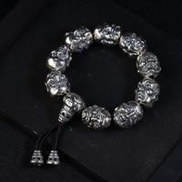 FNJ 925 Silver Luohan Bead Bracelet Buddha Adjustable 18.5cm Rope Chain Charm Thai S925 Silver Bracelets for Men Jewelry