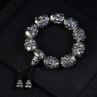 FNJ 925 Silver Luohan Bead Bracelet Buddha Adjustable 18.5cm Rope Chain Charm Thai S925 Silver Bracelets for Men Jewelry